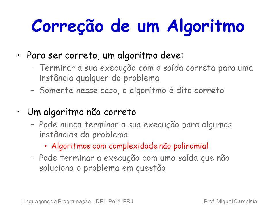 Linguagens de Programação – DEL-Poli/UFRJ Prof. Miguel Campista Correção de um Algoritmo Para ser correto, um algoritmo deve: –Terminar a sua execução