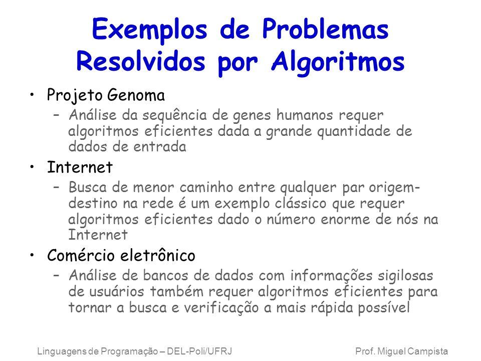 Linguagens de Programação – DEL-Poli/UFRJ Prof. Miguel Campista Exemplos de Problemas Resolvidos por Algoritmos Projeto Genoma –Análise da sequência d