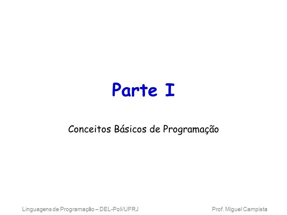 Linguagens de Programação – DEL-Poli/UFRJ Prof. Miguel Campista Parte I Conceitos Básicos de Programação