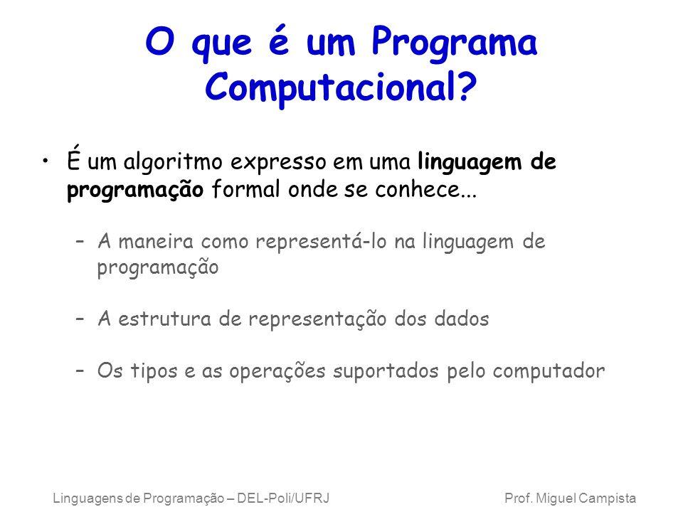 Linguagens de Programação – DEL-Poli/UFRJ Prof. Miguel Campista O que é um Programa Computacional? É um algoritmo expresso em uma linguagem de program