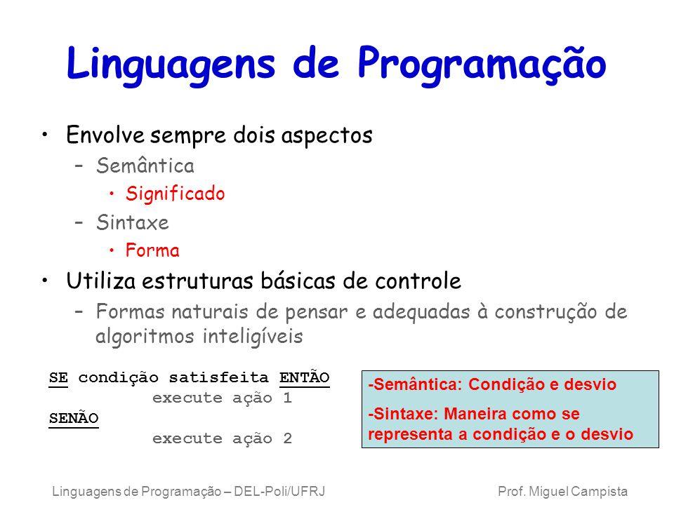 Linguagens de Programação – DEL-Poli/UFRJ Prof. Miguel Campista Linguagens de Programação Envolve sempre dois aspectos –Semântica Significado –Sintaxe