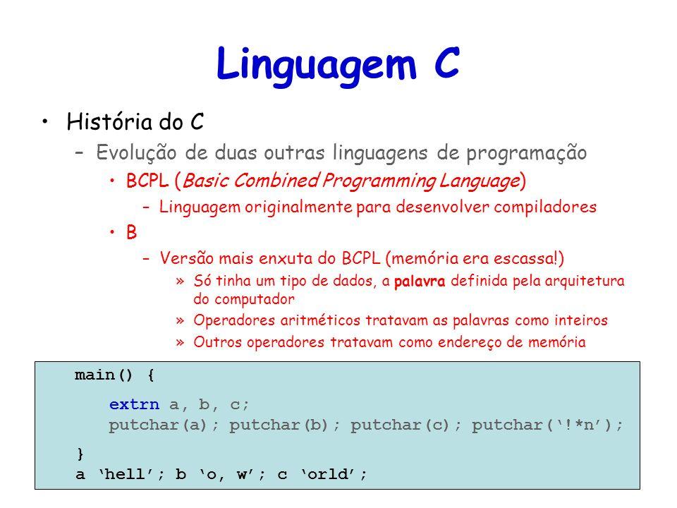 Linguagens de Programação – DEL-Poli/UFRJ Prof. Miguel Campista Linguagem C História do C –Evolução de duas outras linguagens de programação BCPL (Bas