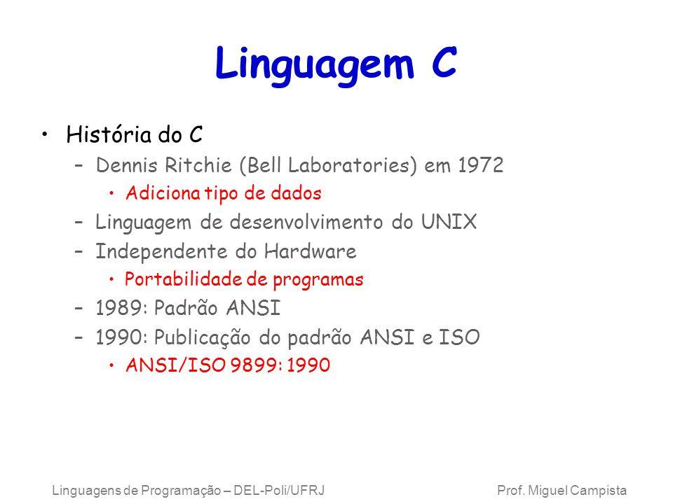 Linguagens de Programação – DEL-Poli/UFRJ Prof. Miguel Campista Linguagem C História do C –Dennis Ritchie (Bell Laboratories) em 1972 Adiciona tipo de