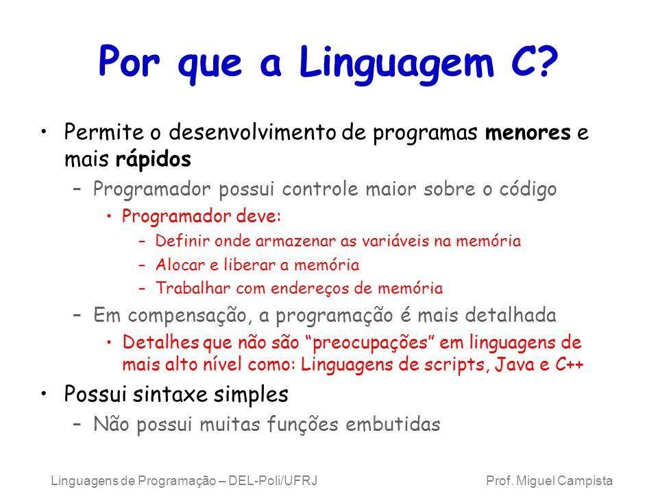 Linguagens de Programação – DEL-Poli/UFRJ Prof. Miguel Campista Por que a Linguagem C? Permite o desenvolvimento de programas menores e mais rápidos –