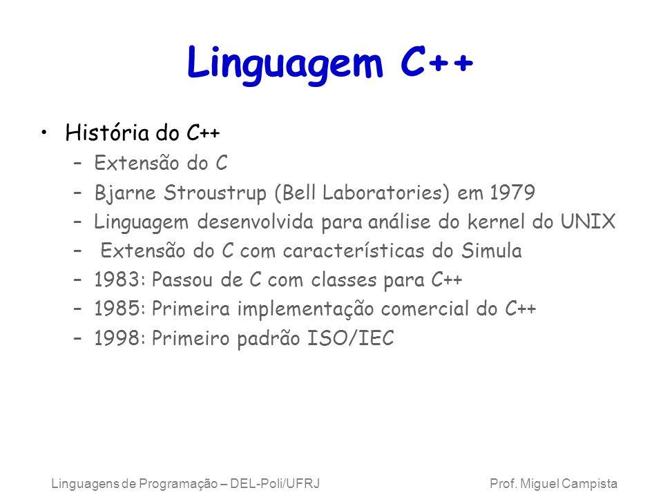 Linguagens de Programação – DEL-Poli/UFRJ Prof. Miguel Campista Linguagem C++ História do C++ –Extensão do C –Bjarne Stroustrup (Bell Laboratories) em