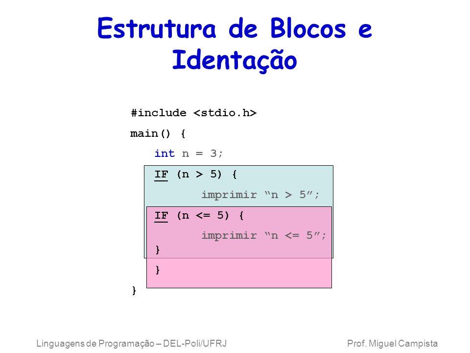 Linguagens de Programação – DEL-Poli/UFRJ Prof. Miguel Campista Estrutura de Blocos e Identação #include main() { int n = 3; IF (n > 5) { imprimir n >