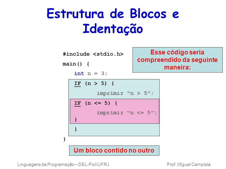 Linguagens de Programação – DEL-Poli/UFRJ Prof. Miguel Campista Estrutura de Blocos e Identação Esse código seria compreendido da seguinte maneira: Um