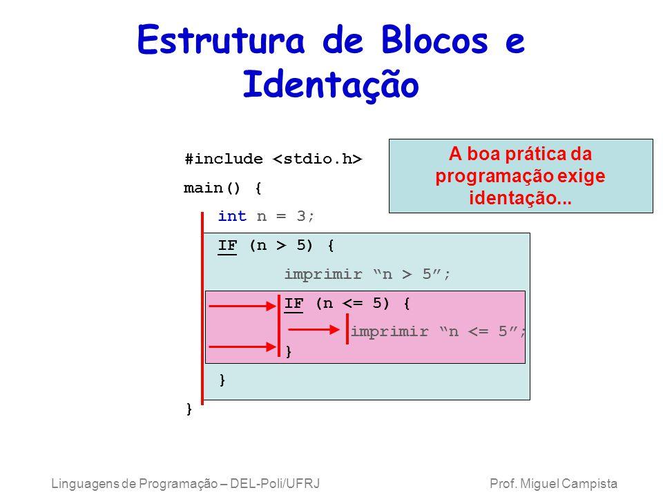 Linguagens de Programação – DEL-Poli/UFRJ Prof. Miguel Campista Estrutura de Blocos e Identação A boa prática da programação exige identação... #inclu