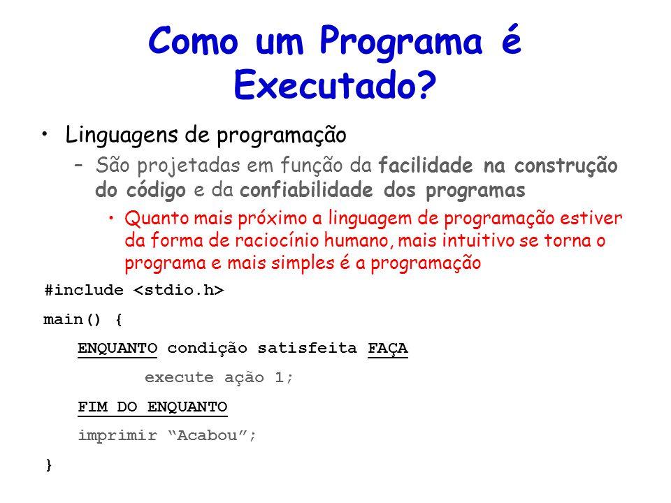 Linguagens de Programação – DEL-Poli/UFRJ Prof. Miguel Campista Como um Programa é Executado? Linguagens de programação –São projetadas em função da f
