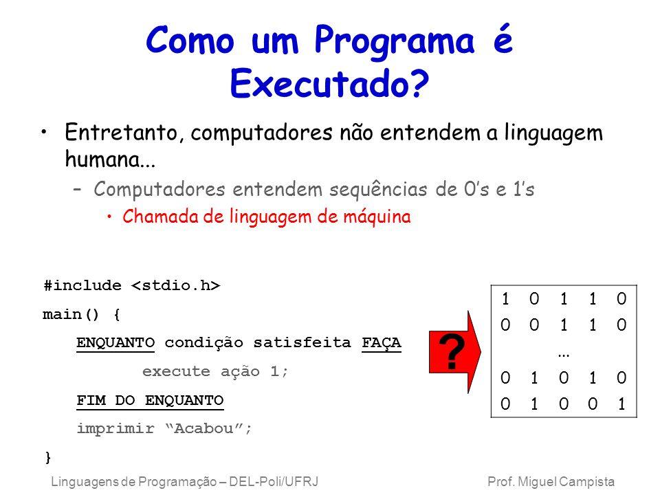 Linguagens de Programação – DEL-Poli/UFRJ Prof. Miguel Campista Como um Programa é Executado? Entretanto, computadores não entendem a linguagem humana