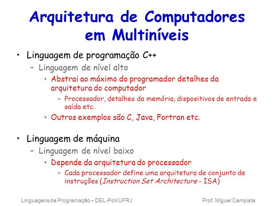 Linguagens de Programação – DEL-Poli/UFRJ Prof. Miguel Campista Arquitetura de Computadores em Multiníveis Linguagem de programação C++ –Linguagem de