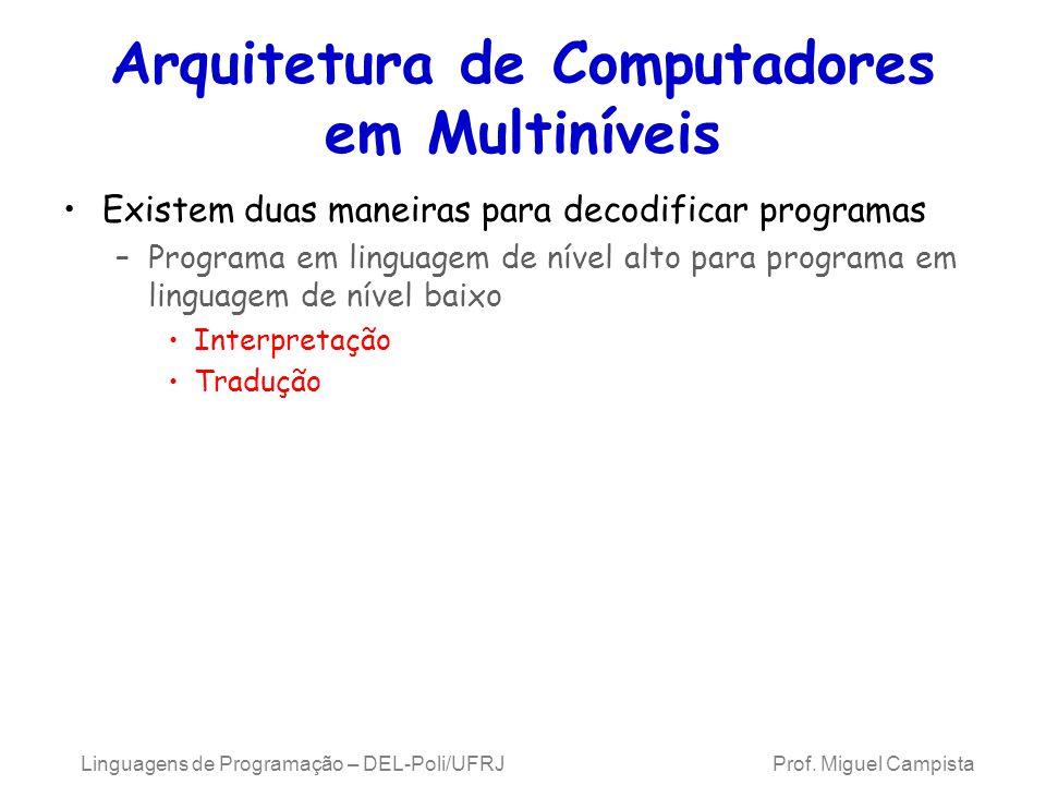 Linguagens de Programação – DEL-Poli/UFRJ Prof. Miguel Campista Arquitetura de Computadores em Multiníveis Existem duas maneiras para decodificar prog