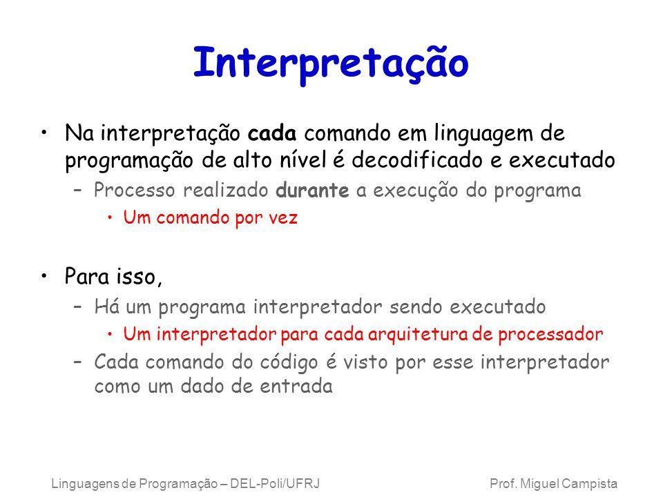 Linguagens de Programação – DEL-Poli/UFRJ Prof. Miguel Campista Interpretação Na interpretação cada comando em linguagem de programação de alto nível
