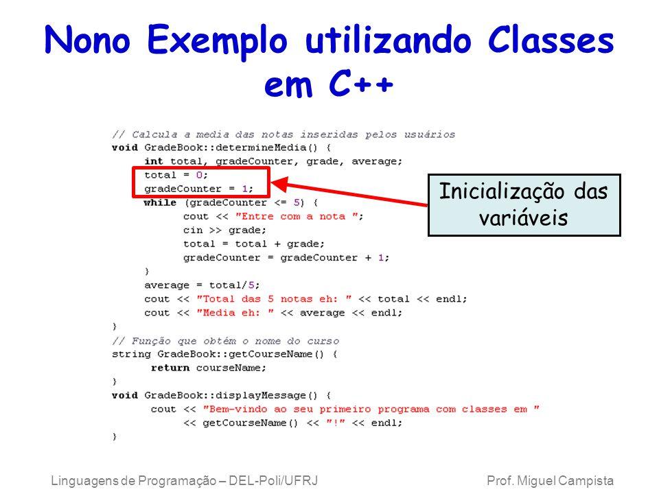 Linguagens de Programação – DEL-Poli/UFRJ Prof. Miguel Campista Nono Exemplo utilizando Classes em C++ Inicialização das variáveis