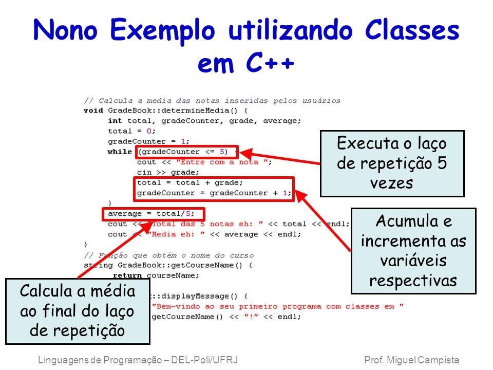 Linguagens de Programação – DEL-Poli/UFRJ Prof. Miguel Campista Nono Exemplo utilizando Classes em C++ Executa o laço de repetição 5 vezes Acumula e i