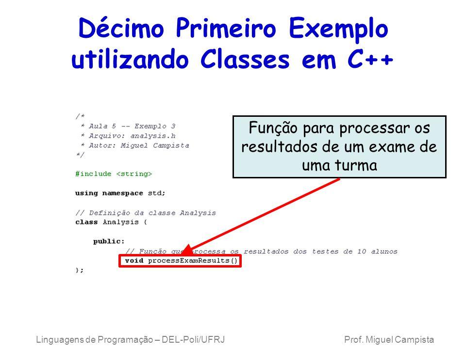 Linguagens de Programação – DEL-Poli/UFRJ Prof. Miguel Campista Décimo Primeiro Exemplo utilizando Classes em C++ Função para processar os resultados