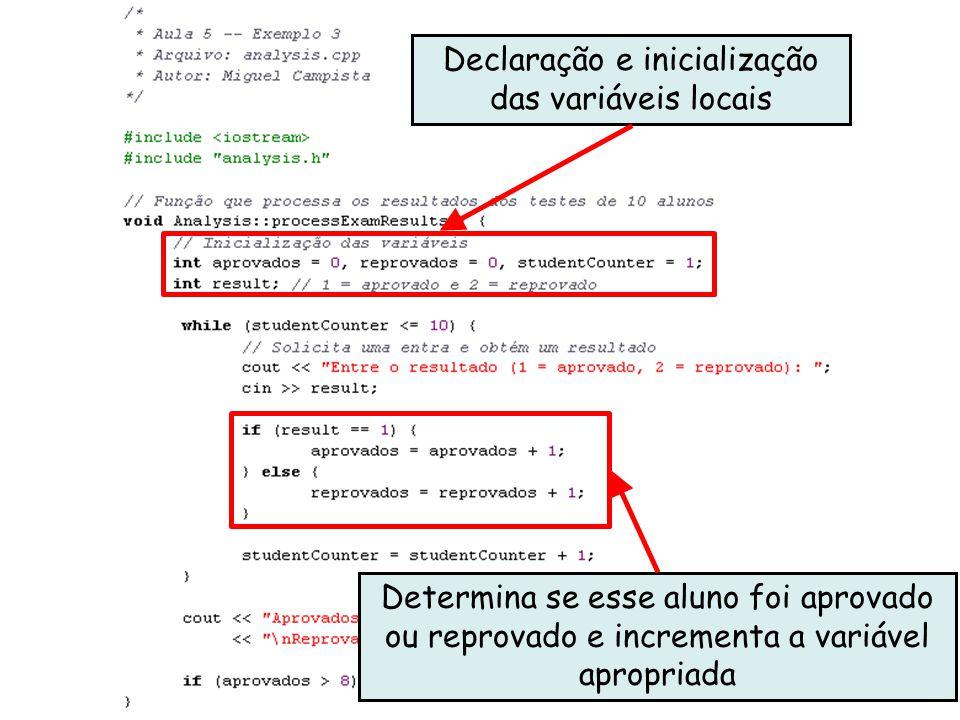 Linguagens de Programação – DEL-Poli/UFRJ Prof. Miguel Campista Décimo Primeiro Exemplo utilizando Classes em C++ Declaração e inicialização das variá