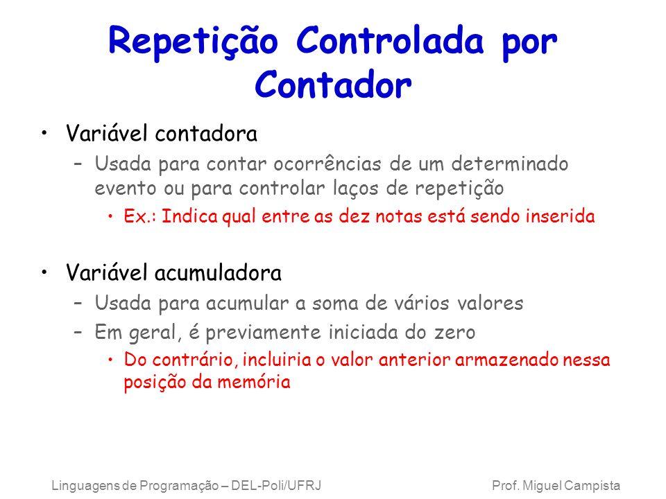 Linguagens de Programação – DEL-Poli/UFRJ Prof. Miguel Campista Repetição Controlada por Contador Variável contadora –Usada para contar ocorrências de
