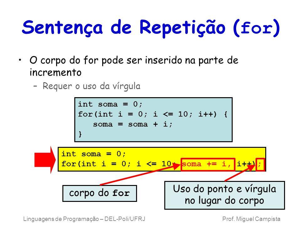 Linguagens de Programação – DEL-Poli/UFRJ Prof. Miguel Campista Sentença de Repetição ( for ) O corpo do for pode ser inserido na parte de incremento