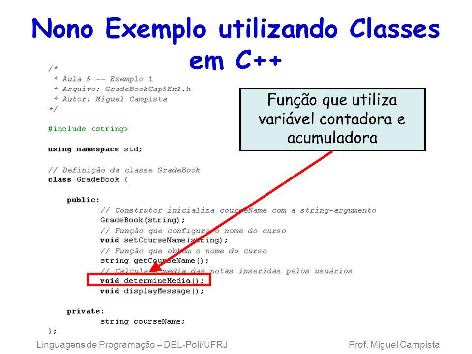 Linguagens de Programação – DEL-Poli/UFRJ Prof. Miguel Campista Nono Exemplo utilizando Classes em C++ Função que utiliza variável contadora e acumula