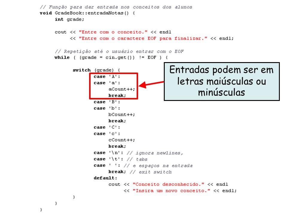 Linguagens de Programação – DEL-Poli/UFRJ Prof. Miguel Campista Décimo Terceiro Exemplo utilizando Classes em C++ Entradas podem ser em letras maiúscu