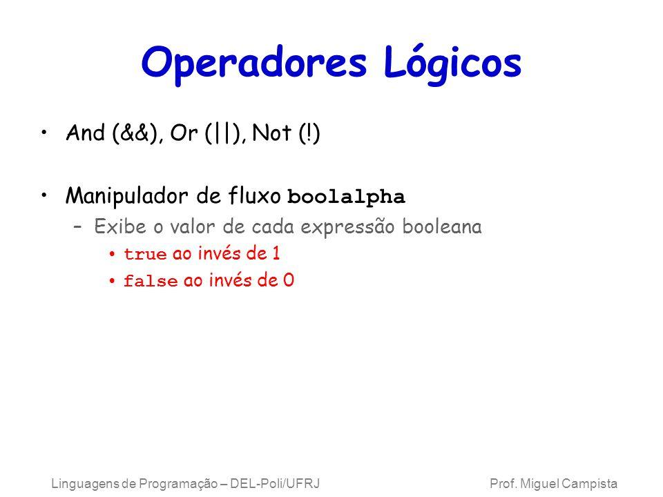Linguagens de Programação – DEL-Poli/UFRJ Prof. Miguel Campista Operadores Lógicos And (&&), Or (||), Not (!) Manipulador de fluxo boolalpha –Exibe o