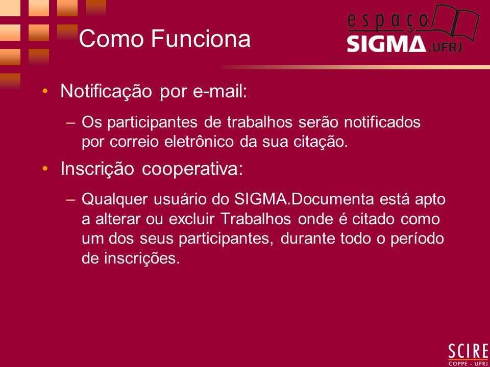 Como Funciona Notificação por e-mail: –Os participantes de trabalhos serão notificados por correio eletrônico da sua citação.
