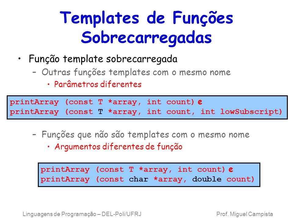 Templates de Funções Sobrecarregadas Função template sobrecarregada –Outras funções templates com o mesmo nome Parâmetros diferentes –Funções que não são templates com o mesmo nome Argumentos diferentes de função Linguagens de Programação – DEL-Poli/UFRJ Prof.