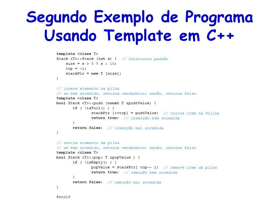 Segundo Exemplo de Programa Usando Template em C++