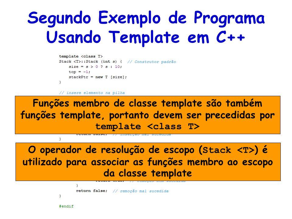 Funções membro de classe template são também funções template, portanto devem ser precedidas por template O operador de resolução de escopo ( Stack ) é utilizado para associar as funções membro ao escopo da classe template
