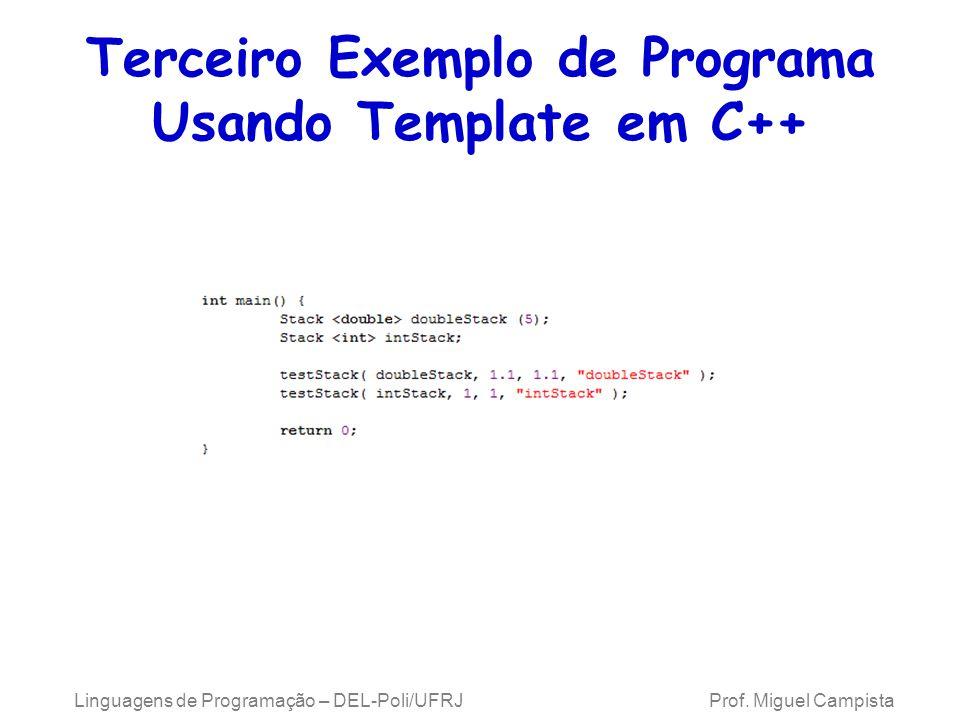 Terceiro Exemplo de Programa Usando Template em C++ Linguagens de Programação – DEL-Poli/UFRJ Prof.