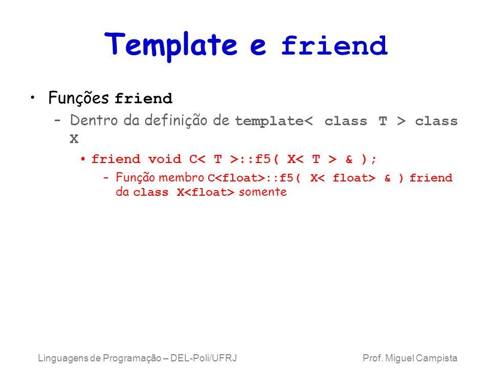 Template e friend Funções friend –Dentro da definição de template class X friend void C ::f5( X & ); –Função membro C ::f5( X & ) friend da class X somente Linguagens de Programação – DEL-Poli/UFRJ Prof.