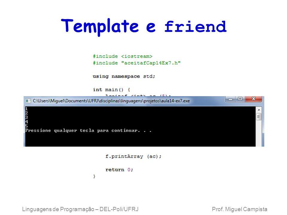 Template e friend Linguagens de Programação – DEL-Poli/UFRJ Prof. Miguel Campista