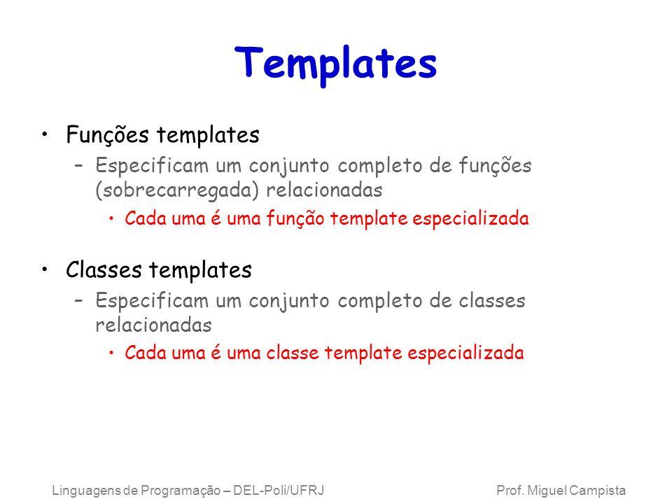Templates Funções templates –Especificam um conjunto completo de funções (sobrecarregada) relacionadas Cada uma é uma função template especializada Classes templates –Especificam um conjunto completo de classes relacionadas Cada uma é uma classe template especializada Linguagens de Programação – DEL-Poli/UFRJ Prof.