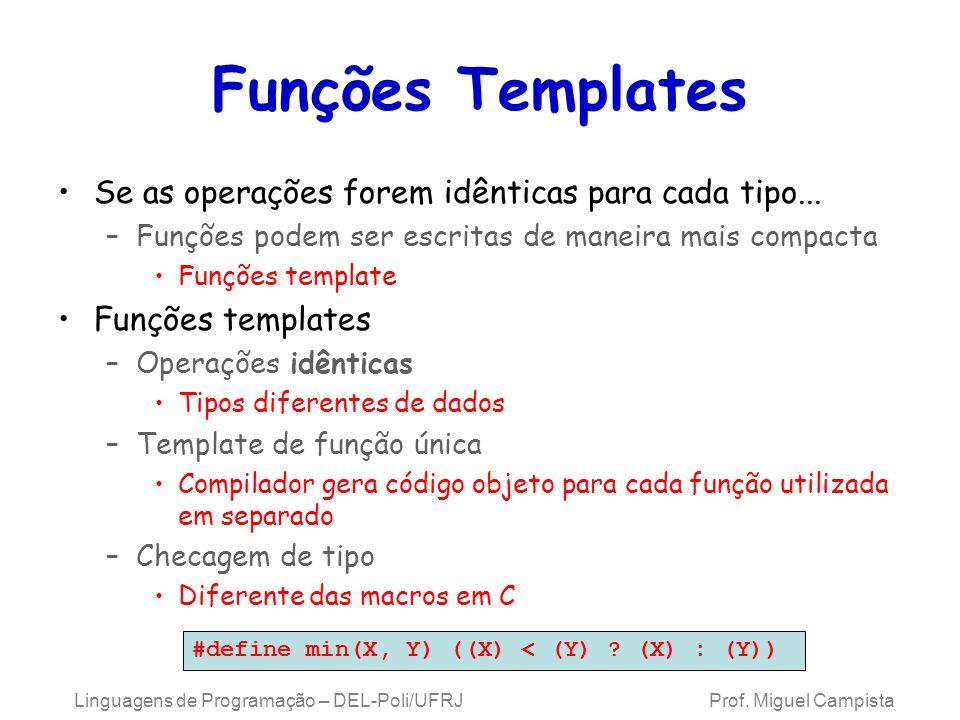 Funções Templates Se as operações forem idênticas para cada tipo...