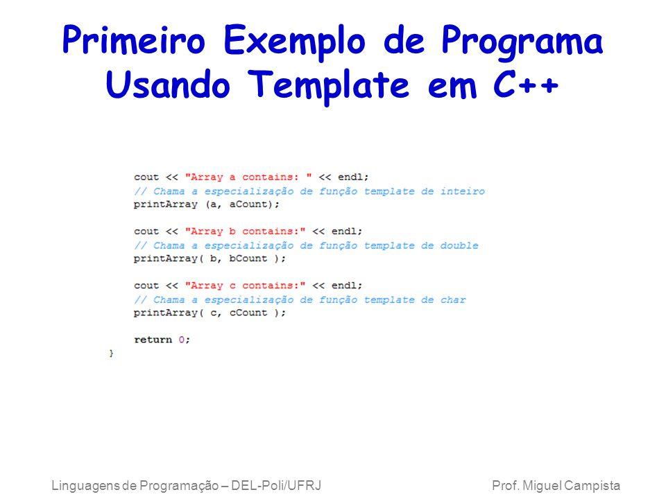 Primeiro Exemplo de Programa Usando Template em C++ Linguagens de Programação – DEL-Poli/UFRJ Prof.