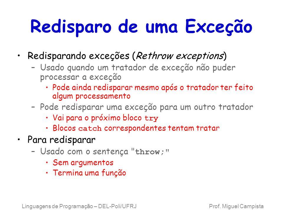 Redisparo de uma Exceção Redisparando exceções (Rethrow exceptions) –Usado quando um tratador de exceção não puder processar a exceção Pode ainda redi