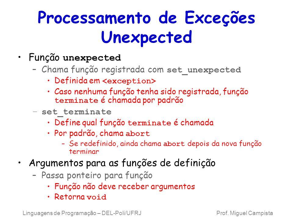 Processamento de Exceções Unexpected Função unexpected –Chama função registrada com set_unexpected Definida em Caso nenhuma função tenha sido registra