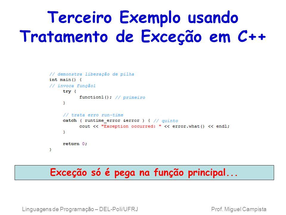 Terceiro Exemplo usando Tratamento de Exceção em C++ Linguagens de Programação – DEL-Poli/UFRJ Prof. Miguel Campista Exceção só é pega na função princ