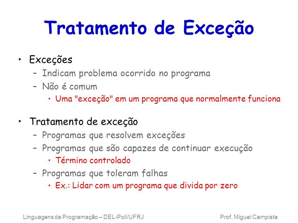 Tratamento de Exceção Exceções –Indicam problema ocorrido no programa –Não é comum Uma
