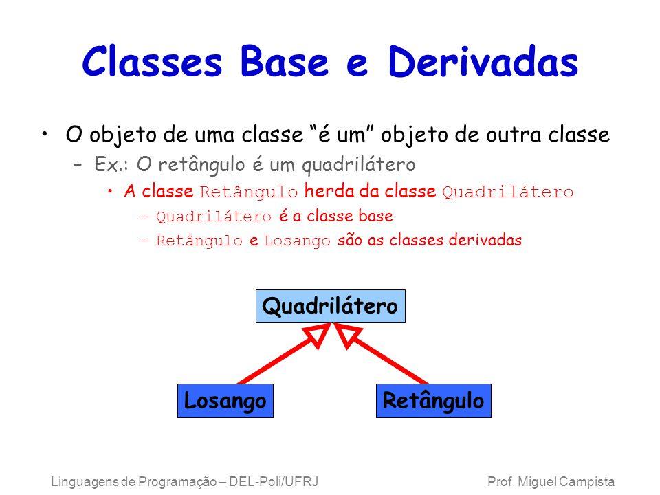 Classes Base e Derivadas O objeto de uma classe é um objeto de outra classe –Ex.: O retângulo é um quadrilátero A classe Retângulo herda da classe Qua