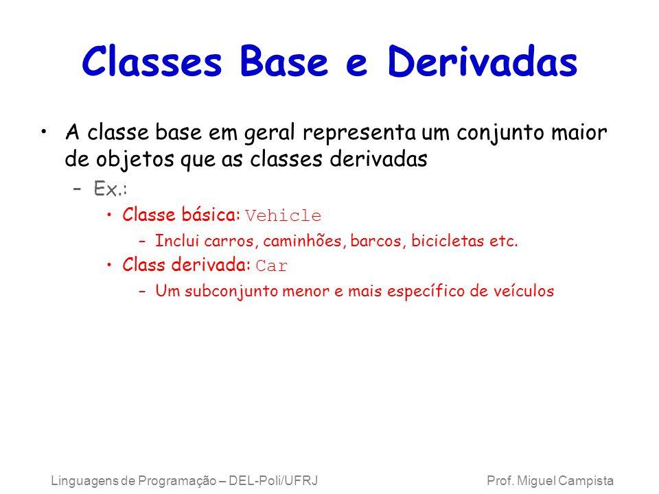 Classes Base e Derivadas A classe base em geral representa um conjunto maior de objetos que as classes derivadas –Ex.: Classe básica: Vehicle –Inclui