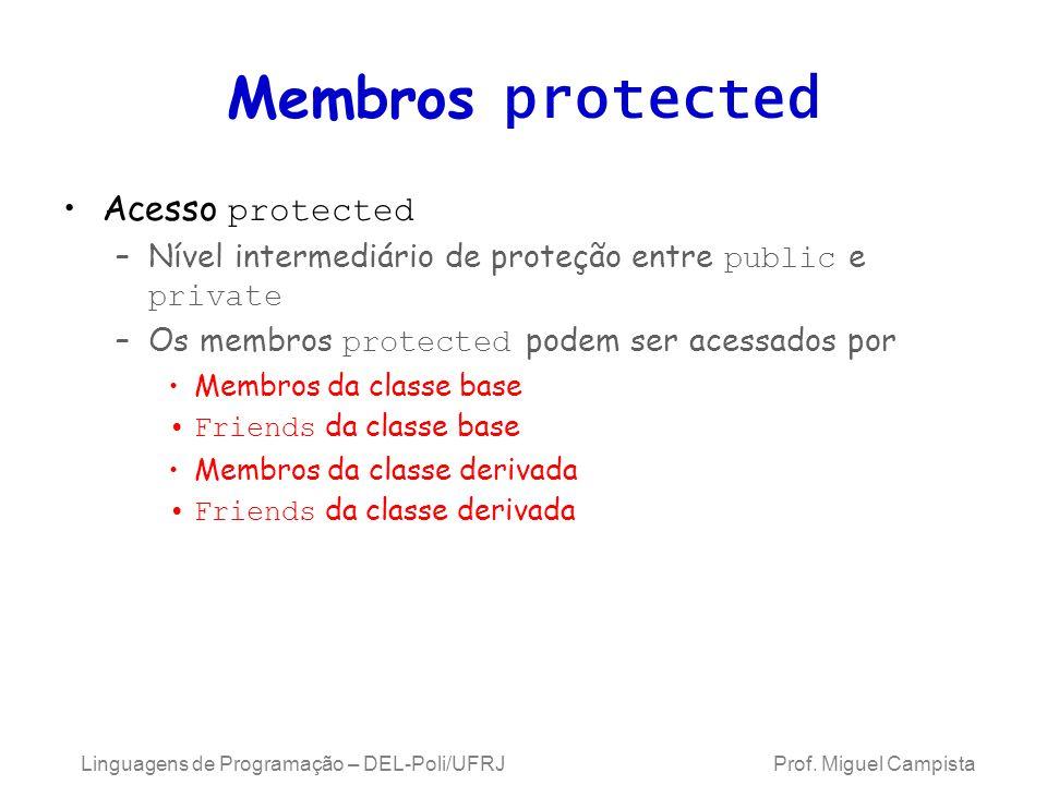 Membros protected Acesso protected –Nível intermediário de proteção entre public e private –Os membros protected podem ser acessados por Membros da cl