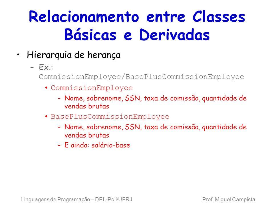 Relacionamento entre Classes Básicas e Derivadas Hierarquia de herança –Ex.: CommissionEmployee/BasePlusCommissionEmployee CommissionEmployee –Nome, s