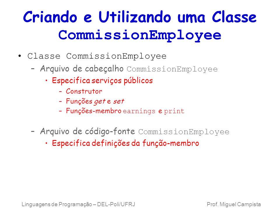 Criando e Utilizando uma Classe CommissionEmployee Classe CommissionEmployee –Arquivo de cabeçalho CommissionEmployee Especifica serviços públicos –Co
