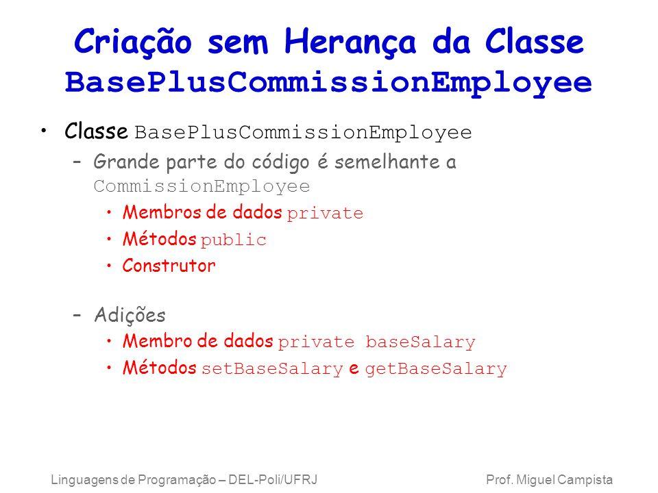Criação sem Herança da Classe BasePlusCommissionEmployee Classe BasePlusCommissionEmployee –Grande parte do código é semelhante a CommissionEmployee M