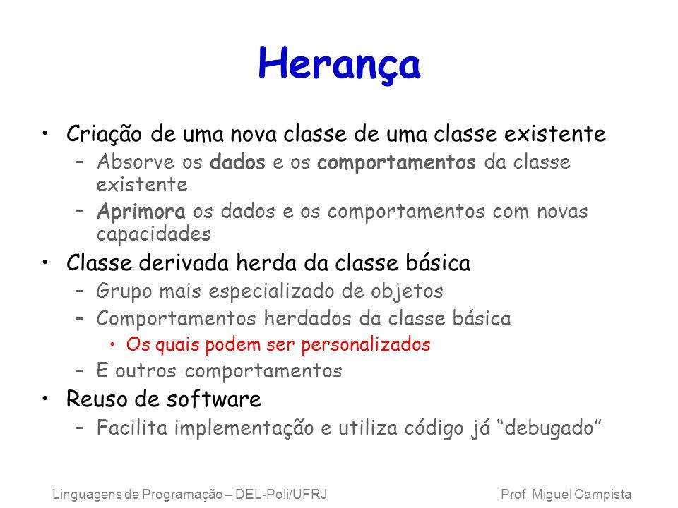 Hierarquia de Classes Classe original –Chamada de classe base Classe nova –Chamada de classe derivada Outras linguagens dão nomes diferentes –Ex.: Java chama de superclasse e subclasse