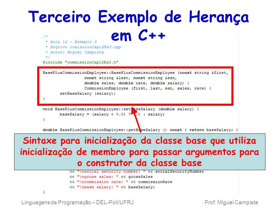 Terceiro Exemplo de Herança em C++ Linguagens de Programação – DEL-Poli/UFRJ Prof. Miguel Campista Sintaxe para inicialização da classe base que utili