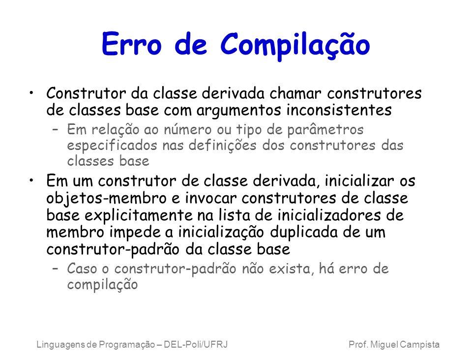 Erro de Compilação Construtor da classe derivada chamar construtores de classes base com argumentos inconsistentes –Em relação ao número ou tipo de pa
