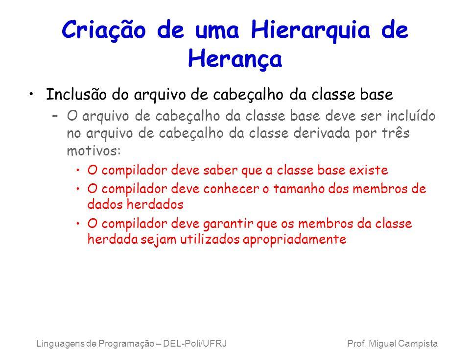Criação de uma Hierarquia de Herança Inclusão do arquivo de cabeçalho da classe base –O arquivo de cabeçalho da classe base deve ser incluído no arqui
